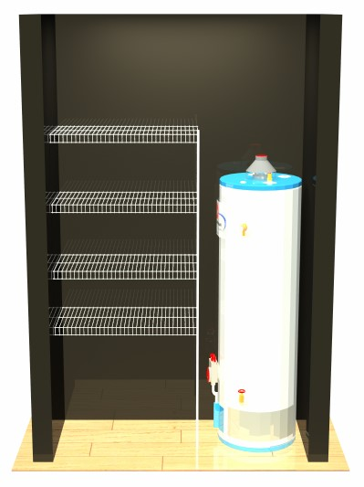 Hot Water Cupboard - 4 Shelves - 1 Pole