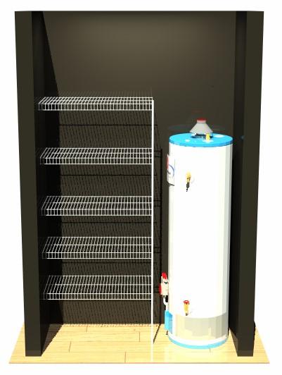 Hot Water Cupboard - 5 Shelves - 1 Pole